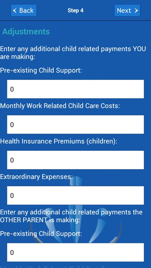 Child Support Calculator - screenshot