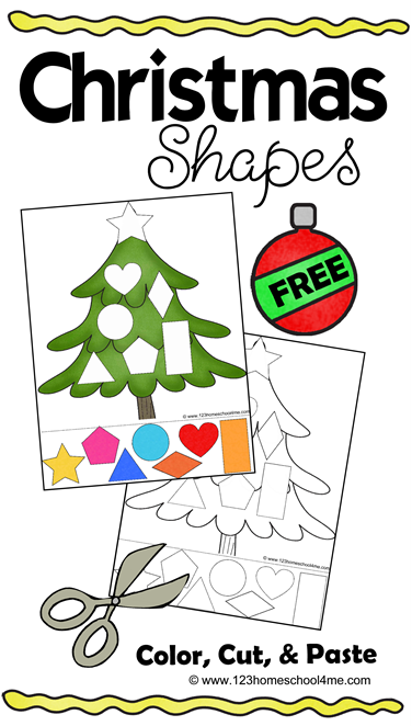 FREE Christmas Cut & Paste Worksheets - these free printable Christmas worksheets are for toddler, preschool, and kindergarten to practice shapes, strengthen fine motor skills, and scissor practice.