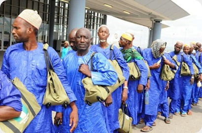 <br /><br />PIC. 6. PILGRIMS TO SAUDI ARABIA ON THE QUEUE TO BOARD  THE   2011 HAJJ INAUGURAL FLIGHT AT THE NNAMDI AZIKIWE INTERNATIONAL AIRPORT IN ABUJA ON SUNDAY (2/10/11).<br /><br />