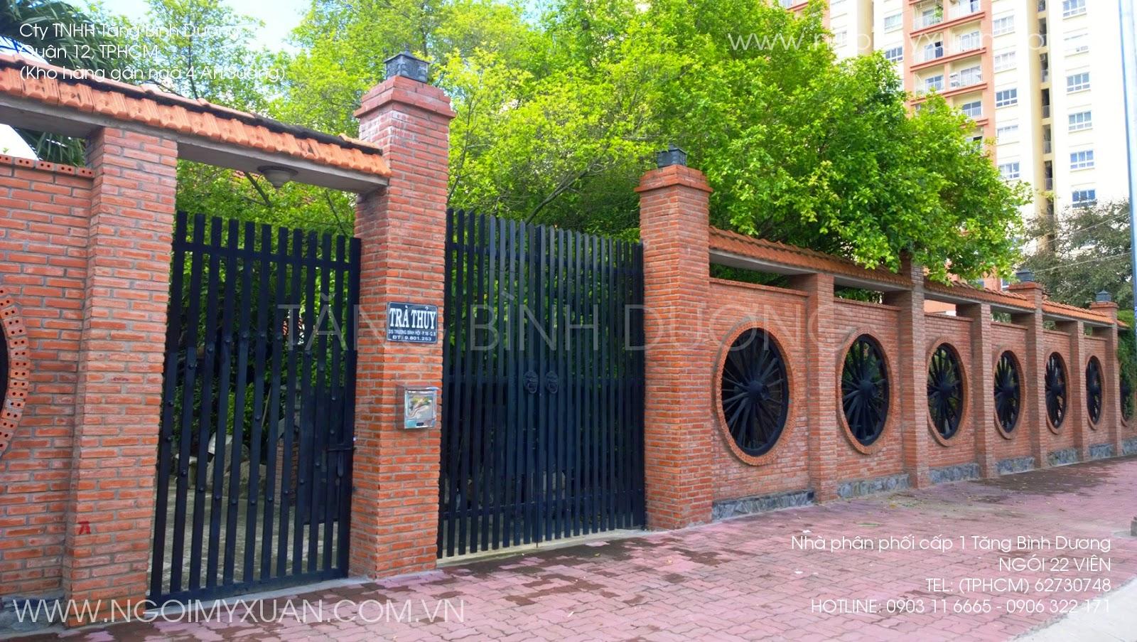 Hàng rào lợp ngói 22 viên m2