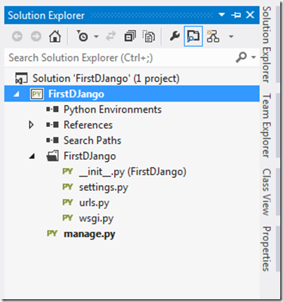 First-Django-application-solution-exploer-visual-studio