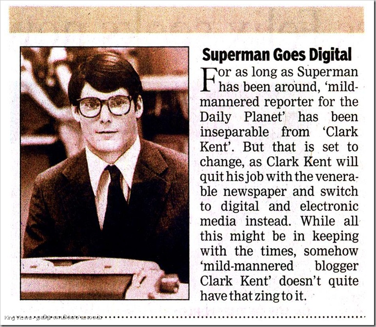 Times Of India Daily Chennai Edition Page No 16 Dated Thursday 25th Oct 2012 Superman Goes Digital