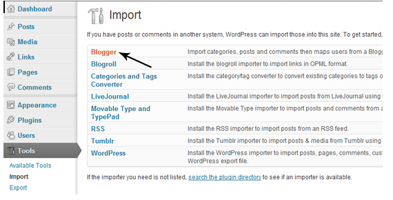 import blogger to wordpress