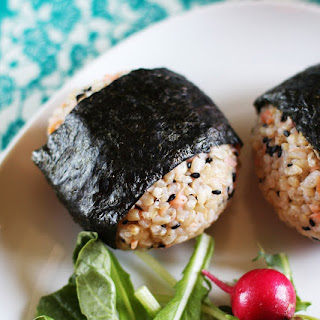 Salmon and Black Sesame Onigiri (Japanese Rice Balls).