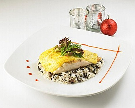 Swensens Baked Barramundi with Mustard Cream Parmesan Cheese, Chestnut Rice Mesclun salad