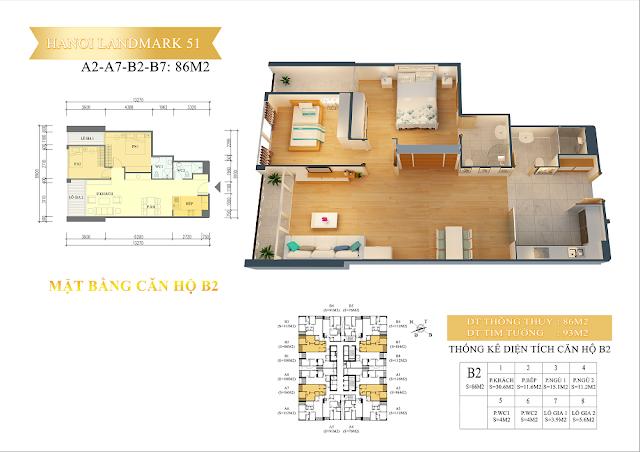 Căn hộ 86 m2- chung cư hanoi landmark 51