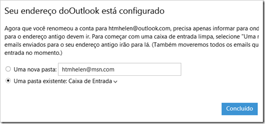 Configurar pasta do e-mail antigo