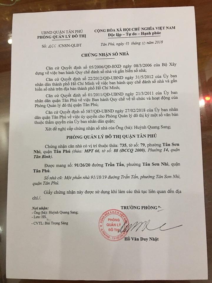 Bán nhà hẻm 91 Trần Tấn Quận Tân Phú, hẻm hai sẹc, diện tích 4m x 14m, nhà cấp 4, giá 3,85 tỷ.3