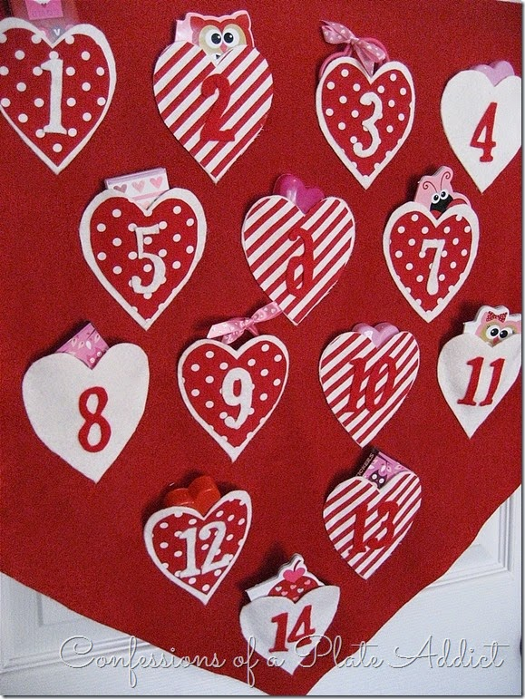 CONFESSIONS OF A PLATE ADDICT No-Sew Pottery Barn Inspired Valentine Countdown Calendar