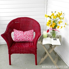 krylon dual cherry red wicker chair square