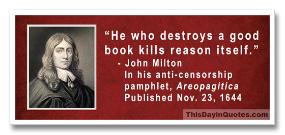 This Day In Quotes He Who Destroys A Good Book Kills Reason Itself