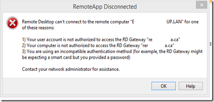 RD Gateway and RemoteApp Error: Remote Desktop can't connect