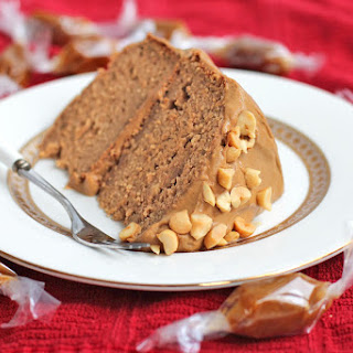 Healthy Peanut Butter Banana Cake with Caramel Frosting.