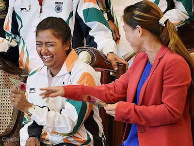 Light moments with MC Mary Kom at Rio send off ceremony