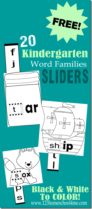 FREE Kindergarten Word Families Activity : Word Family SLIDERS - These are so cute and great practice sounding out words for Preschool too. Just color, cut, slide, and read.