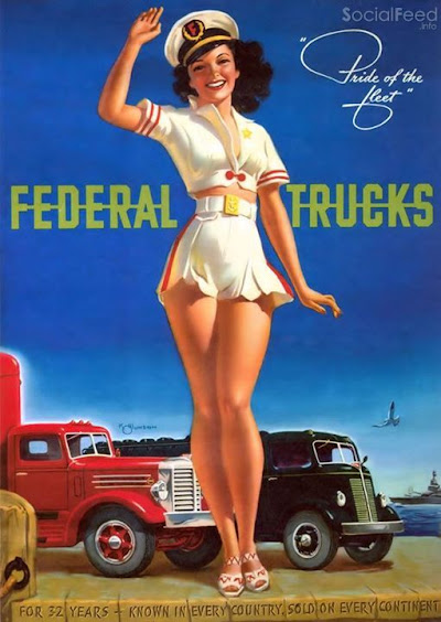 Pride of the Fleet beautiful 1950s advertisement for Federal Trucks by K