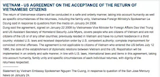 """Vietnamese citizens are not subject to return to Vietnam under this Agreement if they arrived in the United States before July 12, 1995""."