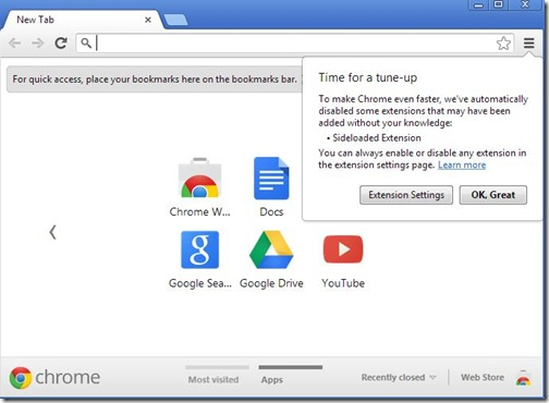 Google Chrome 25 disabilita in automatico le estensioni installate di nascosto in precedenza