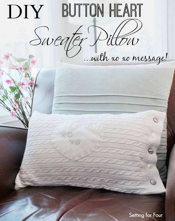 Easy DIY Button Heart Sweater Pillow Tutorial #diy #decor