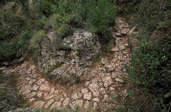 Camí vell de Vilaplana a la Mussara, camí de ferradura, revolt empedrat Serra de la Mussara, Muntanyes de Prades Vilaplana, Baix Camp, Tarragona