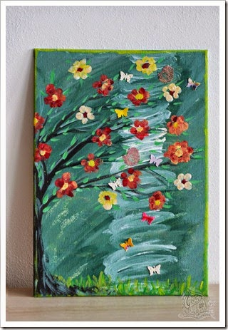canvas with flowers