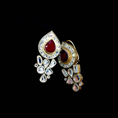 Beautiful kundan and ruby earrings aimcouture