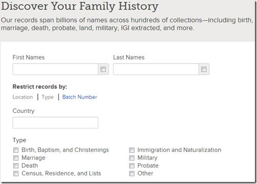 在FamilySearch上通过位置,类型和批号限制记录的选项