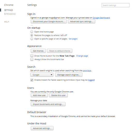 Google Chrome 18 unified settings page