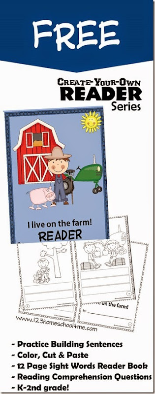 FREE Create Your Own Reader Series - I live on the Farm.  This free printable is great for practice building sentences using sight words for kindergarten 1st grade and 2nd grade