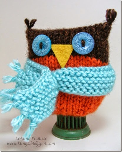 LeAnne Pugliese WeeInklings Knitted Owl with Scarf