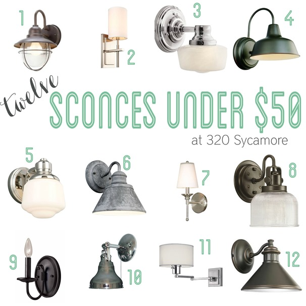 12 sconces for under $50 -- 320 Sycamore