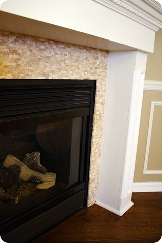 mosiac tile around fireplace