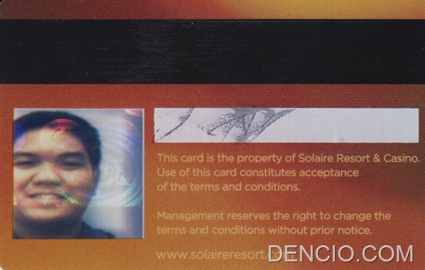Solaire Membership Card Back