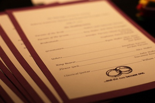diy wedding programs and wedding menus bertie s bakery