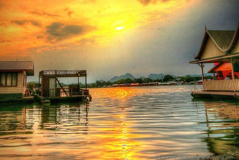 Sunset river kwai Thailand Kanchanaburi raft house