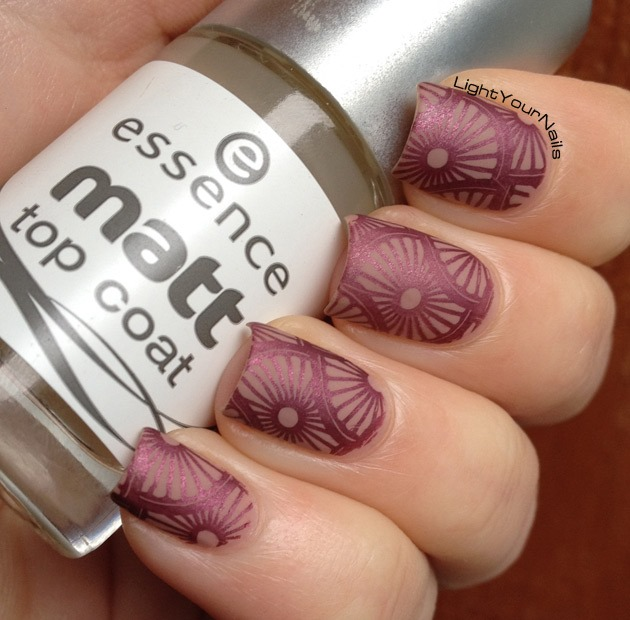 Nude and mauve nail stamping with plate BP-L003 matte