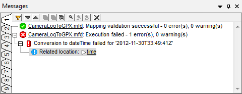 MapForce generates an error message when encountering bad input data.
