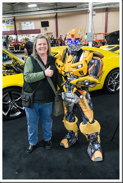 Peg and Bumblebee at the NorthEast Rod and Custom Car Show