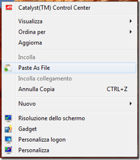 Paste As File voce nel menu del tasto destro del mouse