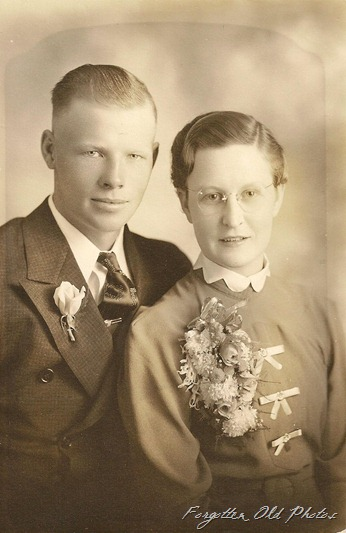 Wedding photo Large corsage Perham Antiques