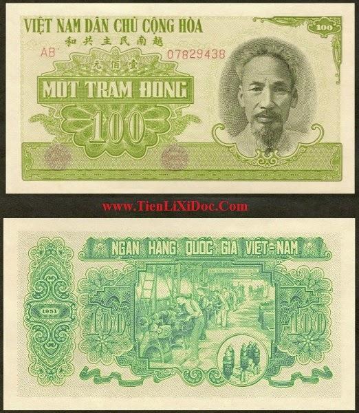 100 Đồng Việt Nam Dân Chủ 1951(Xanh)