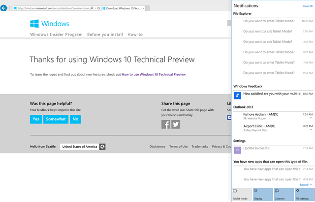 Windows 10 Technical Preview on Surface Pro 3
