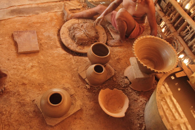 Pots made in front of me at Twante, Burma