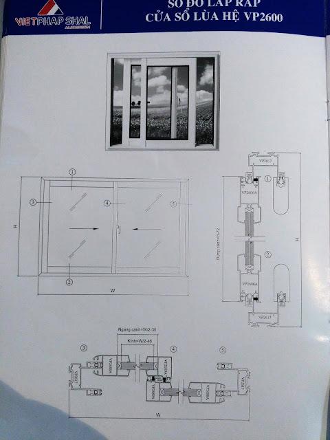 Kết cấu cửa sổ lùa hệ 2600-01