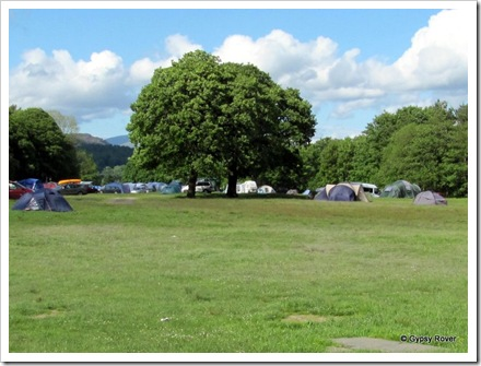 Camping grounds at Coniston Hall, Lake Coniston.