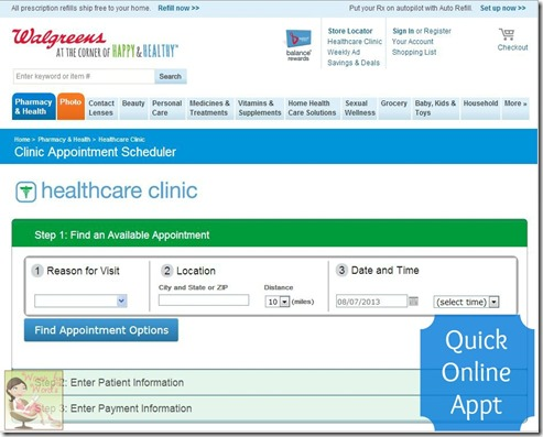 Walgreens Make an Appt Page #shop