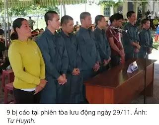 Bình Thuận: Hơn 32 năm tù dành cho người biểu tình ở Phan Rí Cửa trong phiên toà lần thứ năm, ngày 29/11/2018