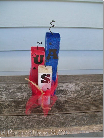 tie scrap wood firecrackers with twine and tulle