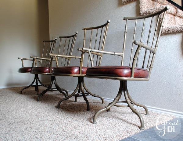 Faux Bamboo Metal Swivel Chairs2