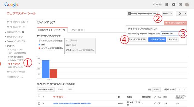 Googleウェブマスターツール(サイトマップ)
